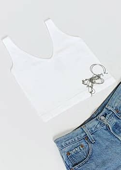Free People solid rib crop top in white