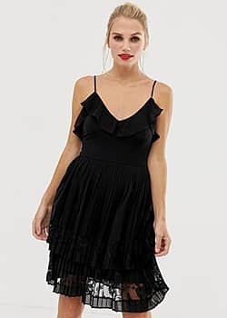 French Connection Adanna pleated lace dress-Black