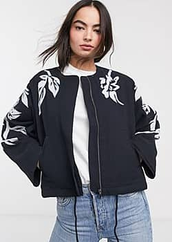 French Connection alleffra applique quilted jacket in blue