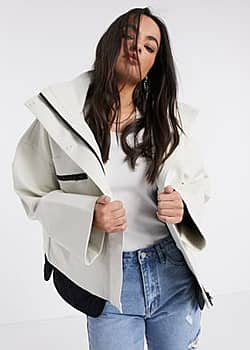French Connection Betti technical high neck jacket in white