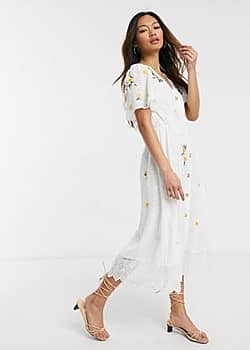 French Connection button front embroidered broderie midi dress in summer white