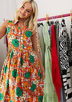 French Connection sleeveless floral mini shirt dress in orange