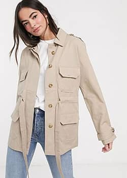 French Connection utility jacket in beige-Multi