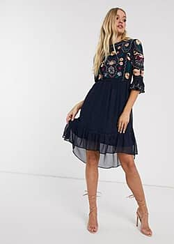 Frock And Frill Frock & Frill 3/4 sleeve embroidered detail midi dress-Navy