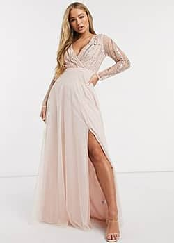 Frock And Frill Frock & Frill deep v-neck embellished long sleeve maxi dress in pink