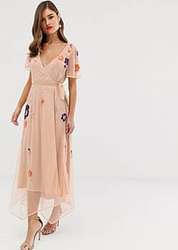 Frock And Frill Frock & Frill embroidery detail short sleeve wrap dress-Pink