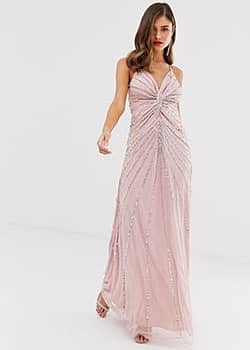Frock And Frill Frock & Frill twist front scatter sequin cami strap maxi dress-Pink