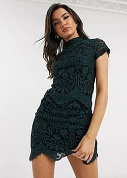 Girl In Mind high neck lace mini dress in green