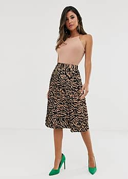 Girl In Mind safari zebra midi skirt-Multi