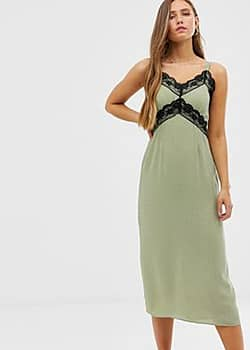 Glamorous cami dress with lace detail in ditsy spot-Green