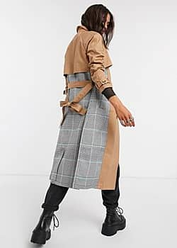 Glamorous check panel trench coat in stone