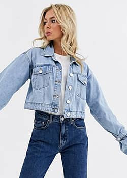 Glamorous distressed cropped denim jacket-Blue