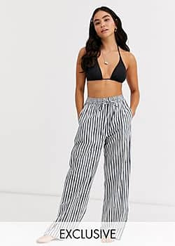 Glamorous Exclusive beach trouser in grey stripe-Multi