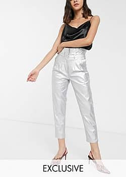 Glamorous high waisted trousers in metallic faux leather-Silver
