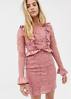 Glamorous lace dress with satin frill detail-Pink