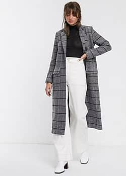 Glamorous maxi coat in grid check-Grey