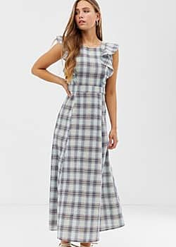 Glamorous maxi dress with full skirt in check-Multi