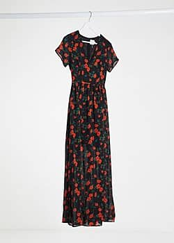 Glamorous maxi dress with plunge front in floral-Multi