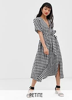 Glamorous midi dress with pleated skirt and tie waist in gingham-Multi