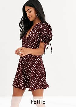 Glamorous mini tea dress with tie sleeves in ditsy vintage floral-Red