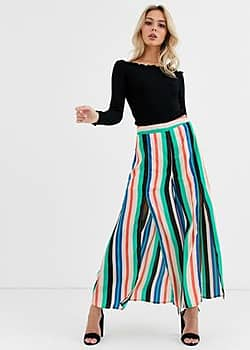 Glamorous split front trousers in stripe-Multi