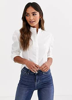 Glamorous structured shirt in cotton-White