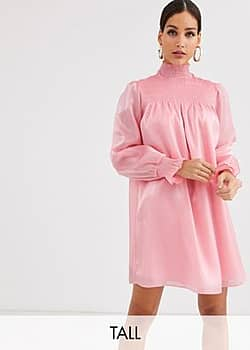 Glamorous high neck swing dress with shirring in organza-Pink