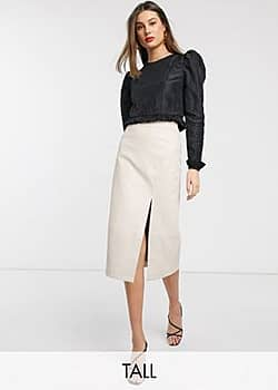 Glamorous midi skirt with split in faux leather-Cream