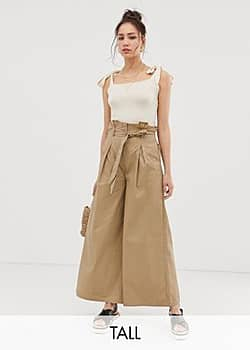 Glamorous paperbag waist trousers with wide leg-Beige