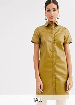 Glamorous shirt dress in soft faux leather-Green