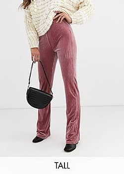 Glamorous wide leg trousers in velvet rib-Pink