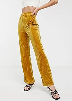 Glamorous wide leg trousers in velvet rib-Yellow