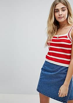 Honey Punch Cami Top In Stripe Knit-Red