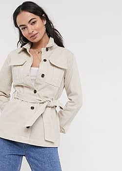 Ichi belted utility jacket-Cream