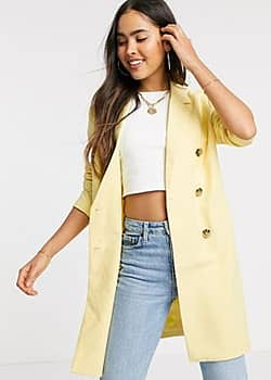 Ichi double breasted longline blazer-Yellow