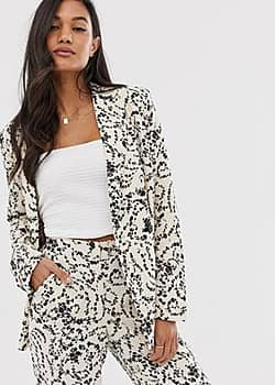 Ichi lace print suit jacket-White