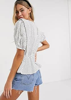 Influence blouse with puff sleeves in cotton polka dot-White