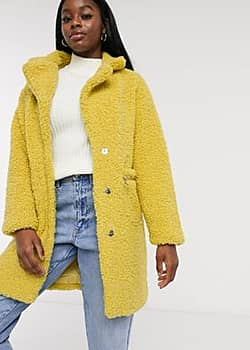 Influence boucle coat in mustard-Yellow