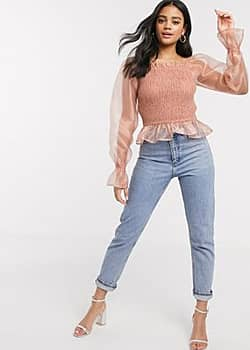 Influence square neck shirred top with organza sleeve in pink