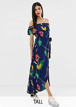 Influence off shoulder maxi dress in navy floral
