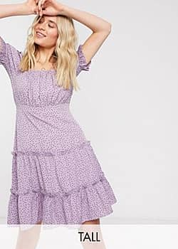 Influence puff sleeve tiered square neck mini dress with tiered hem in lilac polka dot-Purple