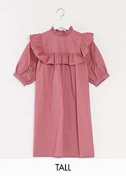 Influence smock dress with frill detail in dusky pink