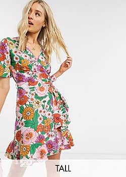 Influence wrap dress in retro floral-Multi