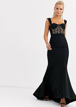 Jarlo bustier maxi dress with lace insert in black
