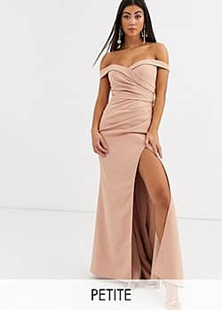 Jarlo bardot maxi dress with sweetheart plunge in cream-Gold