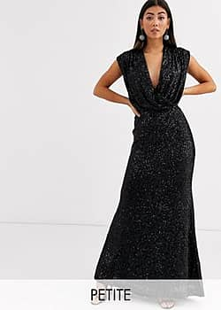 Jarlo wrap front sequin gown in black