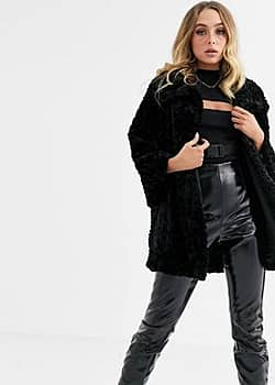 Jayley curley faux fur mid length jacket-Black