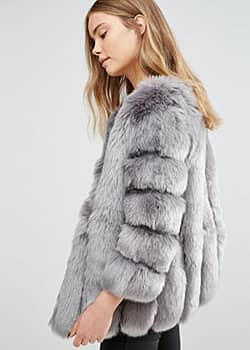 Jayley luxurious stripe faux fur jacket-Grey