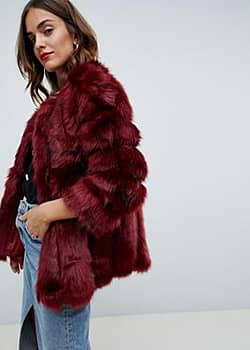 Jayley Luxurious Stripe Fur Jacket-Red