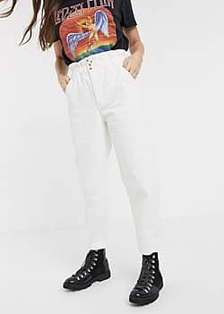 JDY Odel high waisted wide leg jeans-White